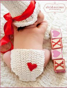 Knitted Valentines Day baby set hat and diaper cover set white and red newborn 0 to 3 months