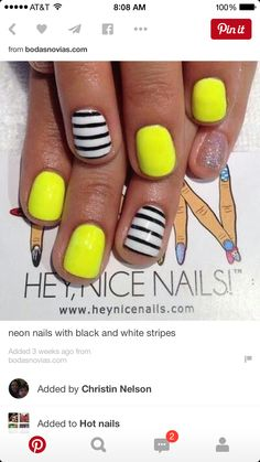 Neon green with black n white stripes