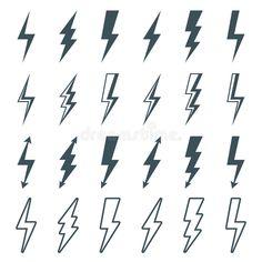 Illustration about Lightning bolt icons set, thunderbolt silhouette sign. Illustration of energy, power, electricity - 64243012