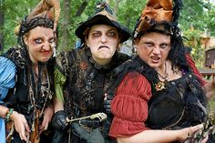 Bristol Renaissance Faire 2012 Weekend 6 Sunday. Witches of Bristol, from Left to right - Beatrix, Gertrude and Ursula