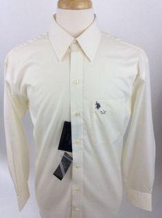 US Polo Assn Mens L Large sz 16 Shirt Wrinkle Free Button Front NWT J182 #USPoloAssn