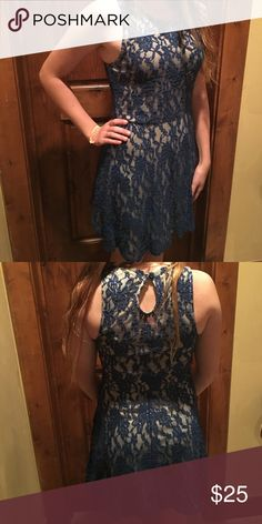 Nice formal mini dress! Super cute! Nude with navy lace overlay. Very gently worn! Make me an offer! Urban Outfitters Dresses Mini