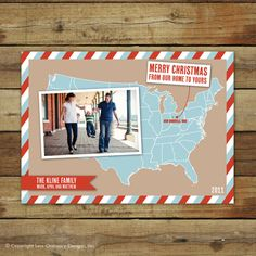 This US map Christmas card can double as a moving announcement too!  It's customized to show where in the US that you live!  $18