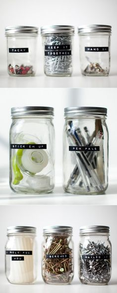 Organizing Jars These labeled jars by Jessica Peterson made me laugh. SO precious and goofy! Related posts: Room organization diy for teens organizing mason jars 24 Ideas Tumblr Room Decor, Tumblr Rooms, Diy Room Decor, Diy Organisation, Stationary Organization, Organizing Office Supplies, Organising Hacks, Organizing Labels, Desktop Organization