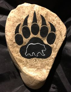 Painted River Rock - Bear Paw Design