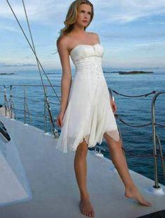 casual short beach strapless wedding dress