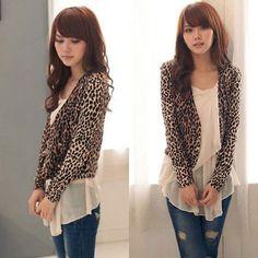 Women leopard print Double breast shrug Jacket Tops Clothes Outwear HSLS58