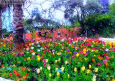 NEW IMPRESSIONALIST ARTISTS | Tulips in Biome, Eden Project, Cornwall: Impressionist Art Painting