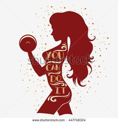 Fitness typographic poster. You can do it. Girl with dumbbells. Motivational and inspirational illustration. Lettering. For logo, T-shirt design,  gym, bodybuilding or fitness club.