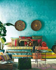 exotic corner stood out by the wall turquoise