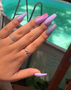 Nails, acrylic nail designs, nail art designs, fall acrylic nails, nails on Gradient Nails, Cute Acrylic Nails, Holographic Nails, Purple Nails, Acrylic Nail Designs, Matte Nails, Color Nails, Glitter Nails, Acrylic Nails For Summer Coffin