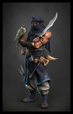 m Rogue Arcane Trickster Light Armor Sword Axe Grapple Hook Falcon companion male underdark undercity Castle Basi lg Fantasy Warrior, Fantasy Rpg, Medieval Fantasy, Dark Fantasy, Fantasy Artwork, Fantasy Character Design, Character Concept, Character Art, Concept Art