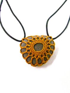 NEW Mori Style- Adjustible & Reversible Crocheted River Stone Necklace…
