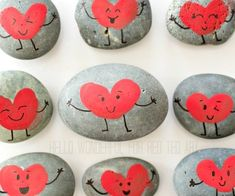 "Gorgeous Fingerprint Heart Rocks for Valentine's (and maybe Mother's Day?? What mum can't resist a fingerprint heart from her lovely children?)… but again, I digress..  these Valentine's Fingerprint Rock Hearts make the perfect friendship rocks don't you think?? Add a ""Our Friendship Rock's Card"" and these make wonderful little Classroom Gifts for Kids to make!! …"