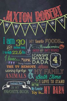 Customizable Printable First Birthday Chalkboard Poster. $30.00, via Etsy.