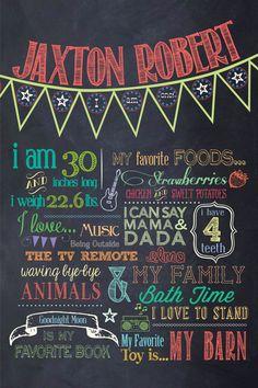 Customizable Printable First Birthday Chalkboard Poster. $30.00, via Etsy.