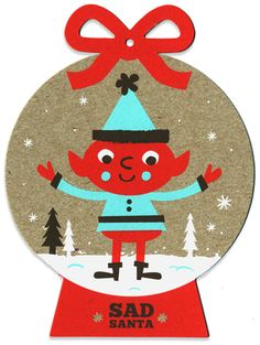 NEW Sad Santa silkscreen Holiday ornaments! by Tad Carpenter