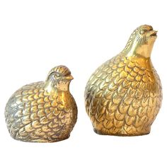 Set of 2 Vintage Mother  Baby Brass Bird Statues