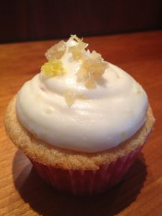 Lemon Ginger Cupcakes with a cream cheese crystalized ginger buttercream... Oh yes filled with a pear and ginger compote!