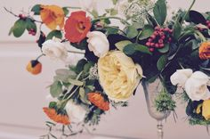 garden flowers wedding centrepiece