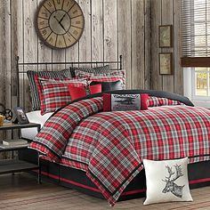 rustic cabin decor - cabin by the lake bedroom decor - cabin in the woods bedroom decorating ideas - moose fishing camping hunting lodge bedrooms for boys - black bear decor - rustic furniture - lodge cabin log cabin themed bedroom decorating ideas Plaid Comforter, Queen Comforter Sets, Twin Comforter, Red Bedding Sets, Boy Bedding, Bedroom Themes, Bedroom Decor, Bedroom Ideas, Master Bedroom