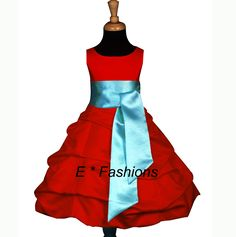 WEDDING RED TURQUOISE BLUE GIRL DRESS 4 6 8 10 11/12 14
