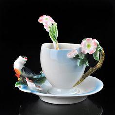 Beautiful Collectible Pink Sakura Bird Sparrow Tea Coffee Set Cup Saucer Spoon