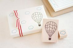 Hot Air Balloon and Little Cloud Rubber Stamp Set - Up, Up and Away - Fun Stamp To Color In - Scrapbook Cardmaking Gift Wrap on Etsy, $11.95