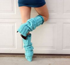 Thigh high aquamarine ruffle ribbed crochet dance trendy leg warmers | valkinthreads - Knitting on ArtFire