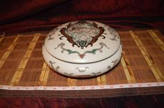 "Vintage Porcelain Bowl With Lid Gold Outlined Hunting Scene  12""x4"""