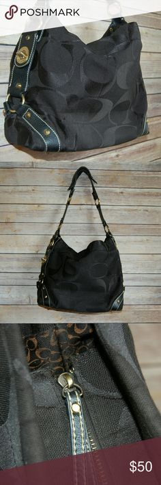 Black Coach Shoulder Purse 10618 Great pre-owned condition Metal zipper No stains or rips on the inside! Only signs of wear are on the coach metal balls around the leather straps and also the leather straps connected to the loops, shown in photos! *Last photo shoes stock photo in different color* Coach Bags