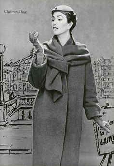 Love the scarf and coat.  1954 Christian Dior
