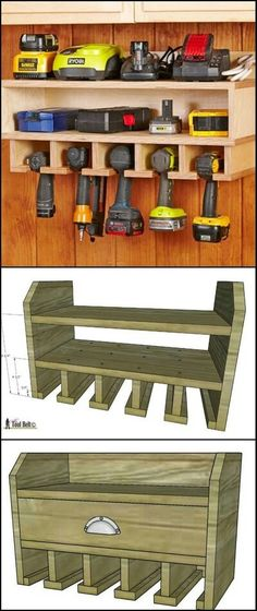 DIY Cordless Drill Storage And Charging Station diyprojects. This wall-mounted cordless drill storage will help keep the entire workshop looking clean and organized. It also serves as the char (Diy Furniture Storage) Workshop Storage, Garage Workshop, Workshop Ideas, Workshop Bench, Wood Workshop, Workshop Design, Woodworking Projects Diy, Woodworking Plans, Woodworking Furniture