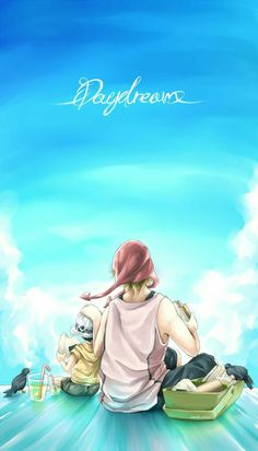 Daydreams, text, Law, Corazon, eating, onigiri, rice balls, crow, bento, boxed lunch, picnic; One Piece