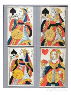 Queen of Spades and Queen of Hearts Playing Cards, 17th - 18th Century (Coloured Wood Engraving) Giclee Print by French at AllPosters.com