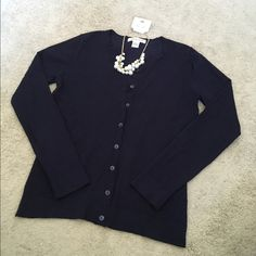 Navy cardigan Like new! Worn only once. Thick material. No stains, tears or pilling. Necklace also available in separate listing. Make an offer! august silk Sweaters Cardigans