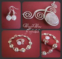 Elegant Set (Silver Plated Wire and Rose Quartz)