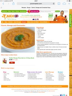 Jason vale carrot, orange and coriander soup