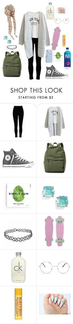 """""""Riding a skateboard to school"""" by haley-hetrick on Polyvore featuring River Island, Converse, Herschel Supply Co., Simply Gum, Kate Spade, Calvin Klein and Nasty Gal"""
