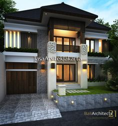 Rumah pak Michael luas 315 m2 - Jasa Arsitek jakarta Modern Tropical House, Small Modern Home, Bungalow House Design, Modern House Design, Facade House, House Roof, Residential Architecture, Architecture Design, Independent House
