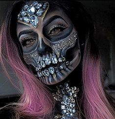 Halloween makeup inspiration incorporating faux gems applied with spirit gum. Find more ideas for Halloween makeup with pink hair at Star Style Wigs. Click the image for full article. Halloween Makeup Looks, Costume Halloween, Creepy Halloween, Haloween Makeup, Halloween Makeup Sugar Skull, Sugar Skull Costume, Halloween Inspo, Halloween Night, Halloween Halloween