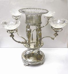 Georgian 4 Branch Figural Centrepiece 1830 stock id 6366 in Antiques, Silver, Silver Plate | eBay