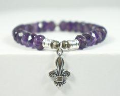 Tiffany Jazelle - Amethyst Semi-Precious Stone bracelet with Fleur De Lis Charm  www.tiffanyjazell...