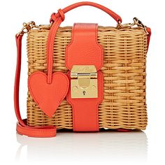 Mark Cross Women's Harley Rattan Satchel ($2,095) ❤ liked on Polyvore featuring bags, handbags, red, red purse, satchel bag, woven handbags, red handbags and red satchel purse