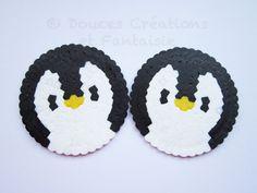 2 Coaster Penguin, kawaii animal, 8 bit geek, perler Hama bead, handmade, kitchen accessory table