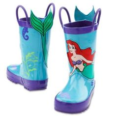 Ariel Rain Boots for Girls | Shoes | Disney Store - If only they had adult sizes.