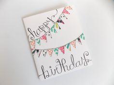 Happy Birthday Card  Birthday Bunting  by happydoodlesbykatie
