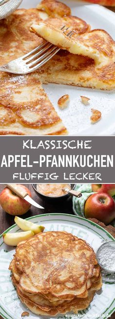 Apfelpfannkuchen klassisch und fluffig – emmikochteinfach Apple pancakes classic and fluffy – easy to cook Vegan Breakfast, Breakfast Recipes, Dinner Recipes, Quick Recipes, Quick Easy Meals, Cooked Apples, Brunch, Food And Drink, Vegetarian