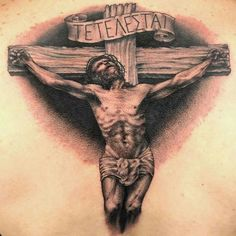 Black & Gray Religious Tattoo by Cleen Rock One Jesus Tattoo, Religious Tattoos, Ink Master, Archangel Michael, Neo Traditional Tattoo, Great Tattoos, Black And Grey, Gray, Rock