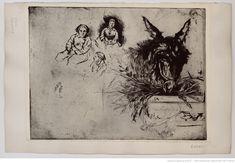 [Tête d'âne à la mangeoire, avec trois personnages] : [estampe] (2e état) / Lepic